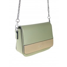 На фото 1 - Женская сумочка из гладкой искусственной кожи, цвет хаки с пудровым