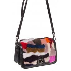 На фото 1 - Меховая сумка кросс-боди, розовый мультицвет