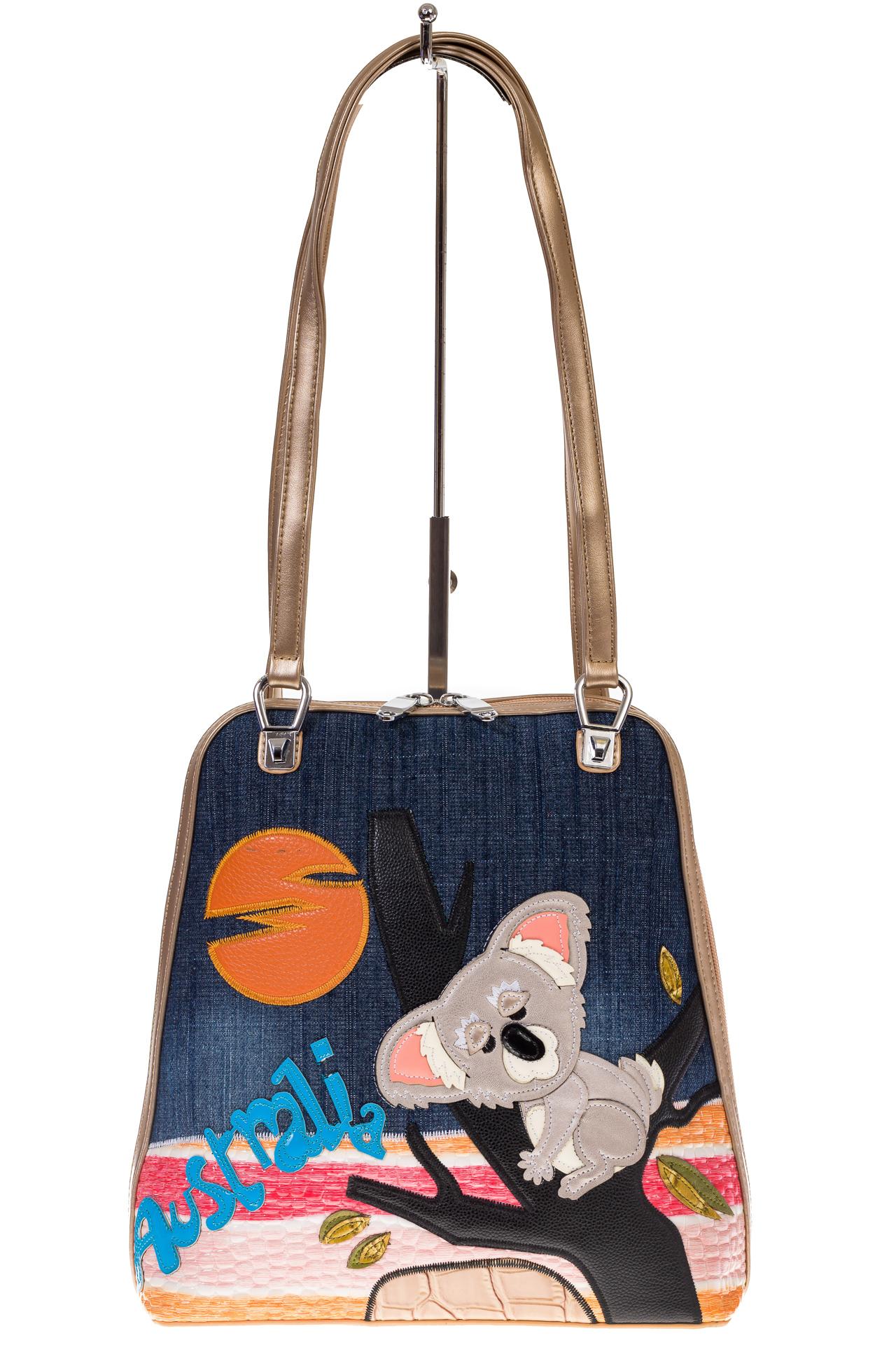 На фото 2 - Сумка-рюкзак из искусственной кожи