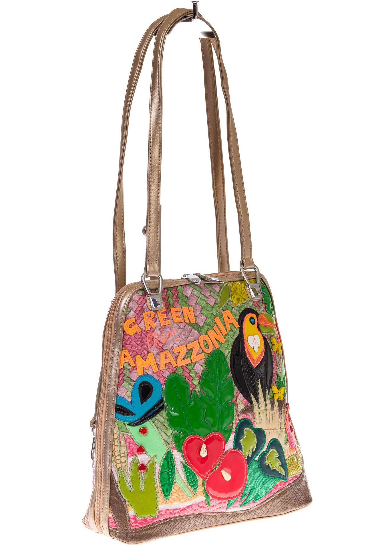 На фото 1 - Сумка-рюкзак из искусственной кожи с попугаем