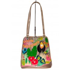 На фото 2 - Сумка-рюкзак из искусственной кожи с попугаем
