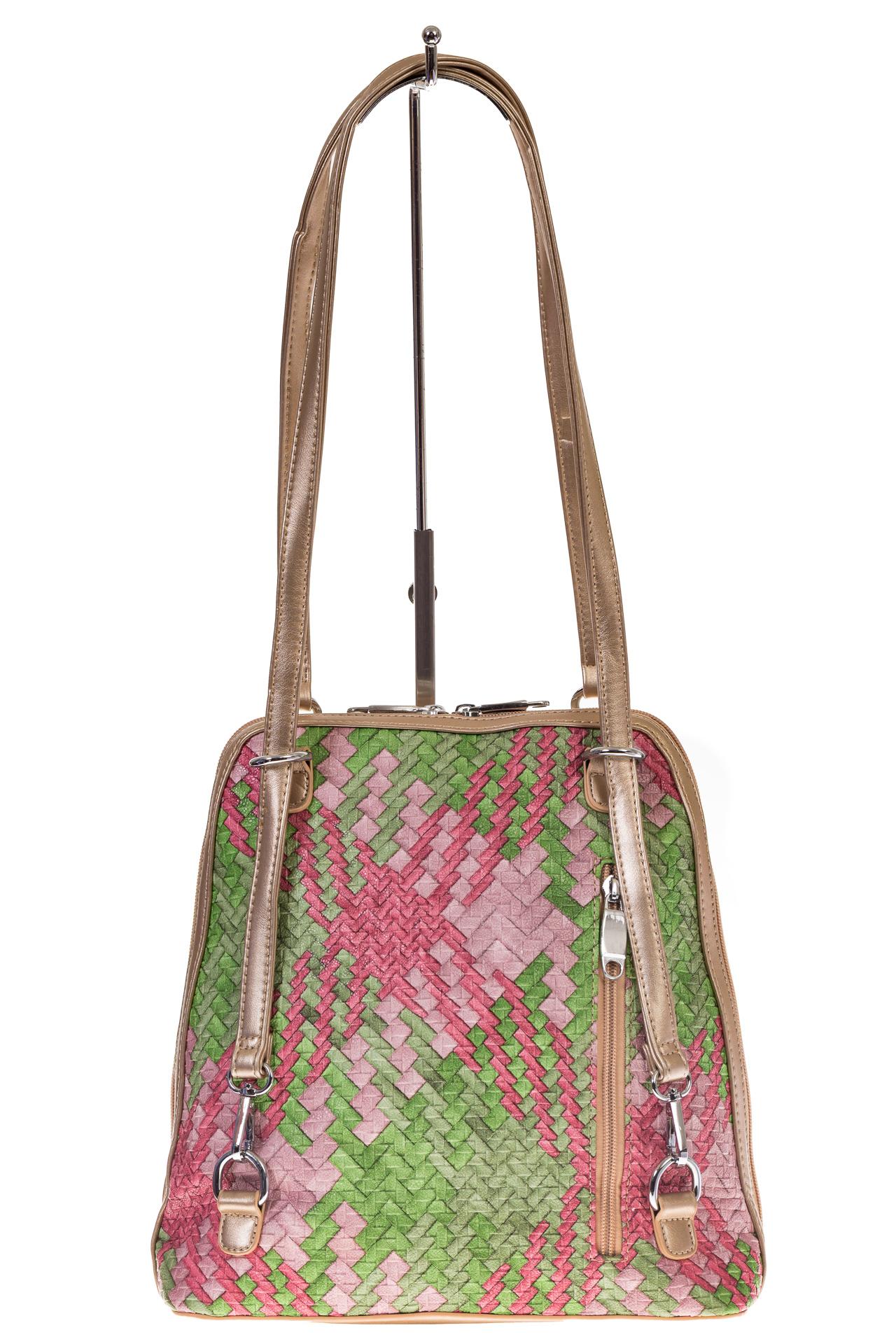 На фото 3 - Сумка-рюкзак из искусственной кожи с попугаем