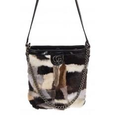 На фото 2 - Женская сумка из натурального меха, шоппер бежевый мультицвет