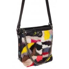 На фото 1 - Женская сумка из натурального меха, шоппер мультицвет