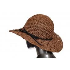 На фото 1 - Ажурная летняя шляпка шоколадного цвета с чёрным бантом