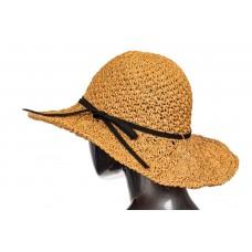На фото 1 - Коричневая летняя шляпка с ажурным плетением и шнурком