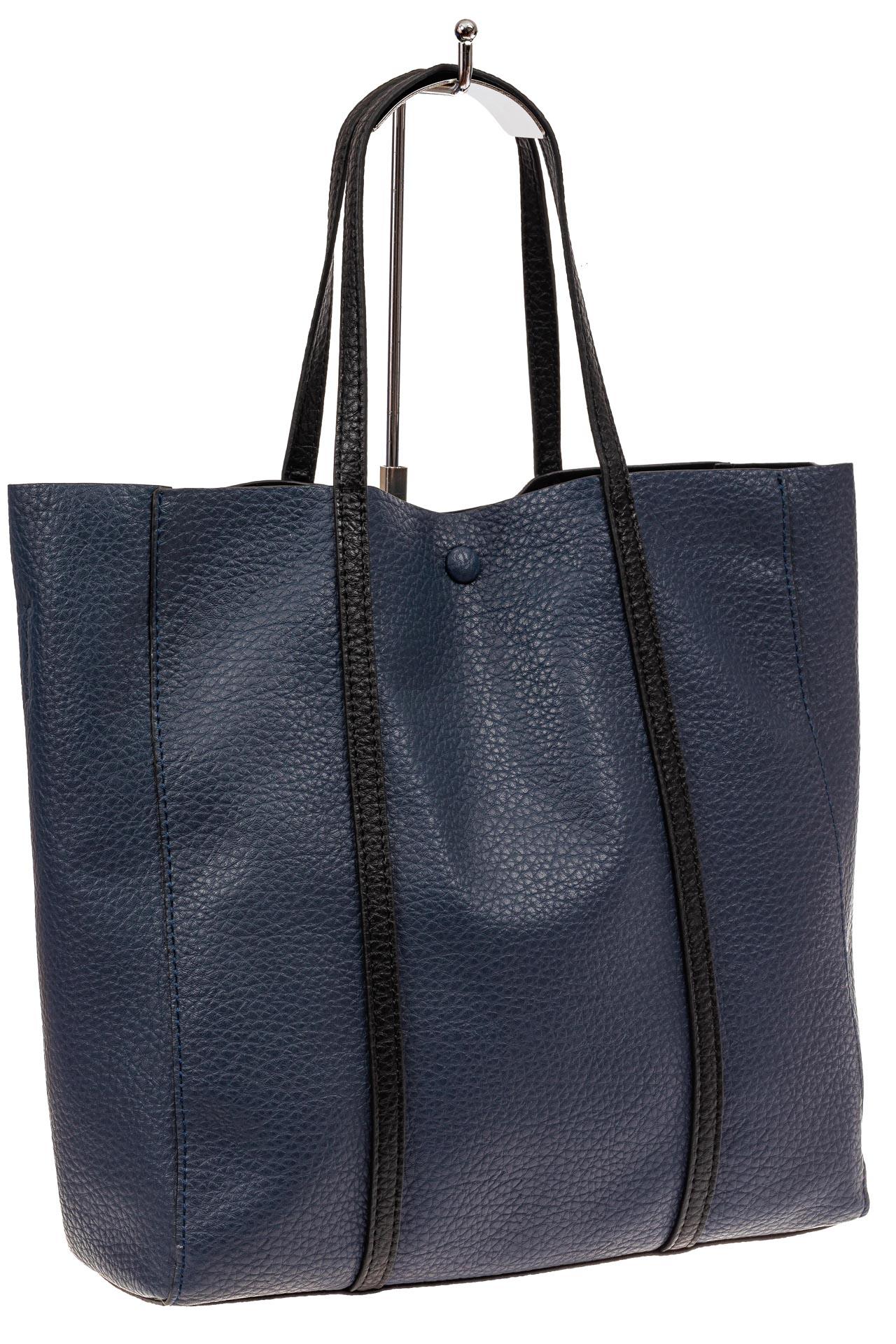 Сумка женская шоппер из натуральной кожи, цвет серо-синий882NK1219/2