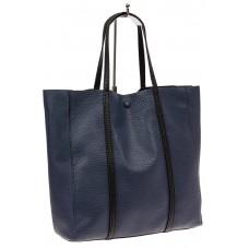На фото 1 - Сумка женская шоппер из натуральной кожи, цвет серо-синий