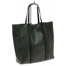 На фото 1 - Сумка женская шоппер из натуральной кожи, цвет зеленый