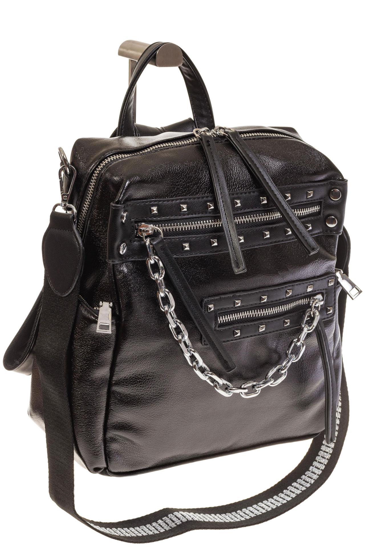 На фото 1 - Рюкзак в стиле рок-н-рол из искусственной кожи, цвет черный