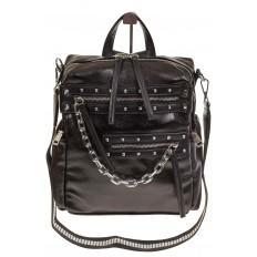 На фото 2 - Рюкзак в стиле рок-н-рол из искусственной кожи, цвет черный