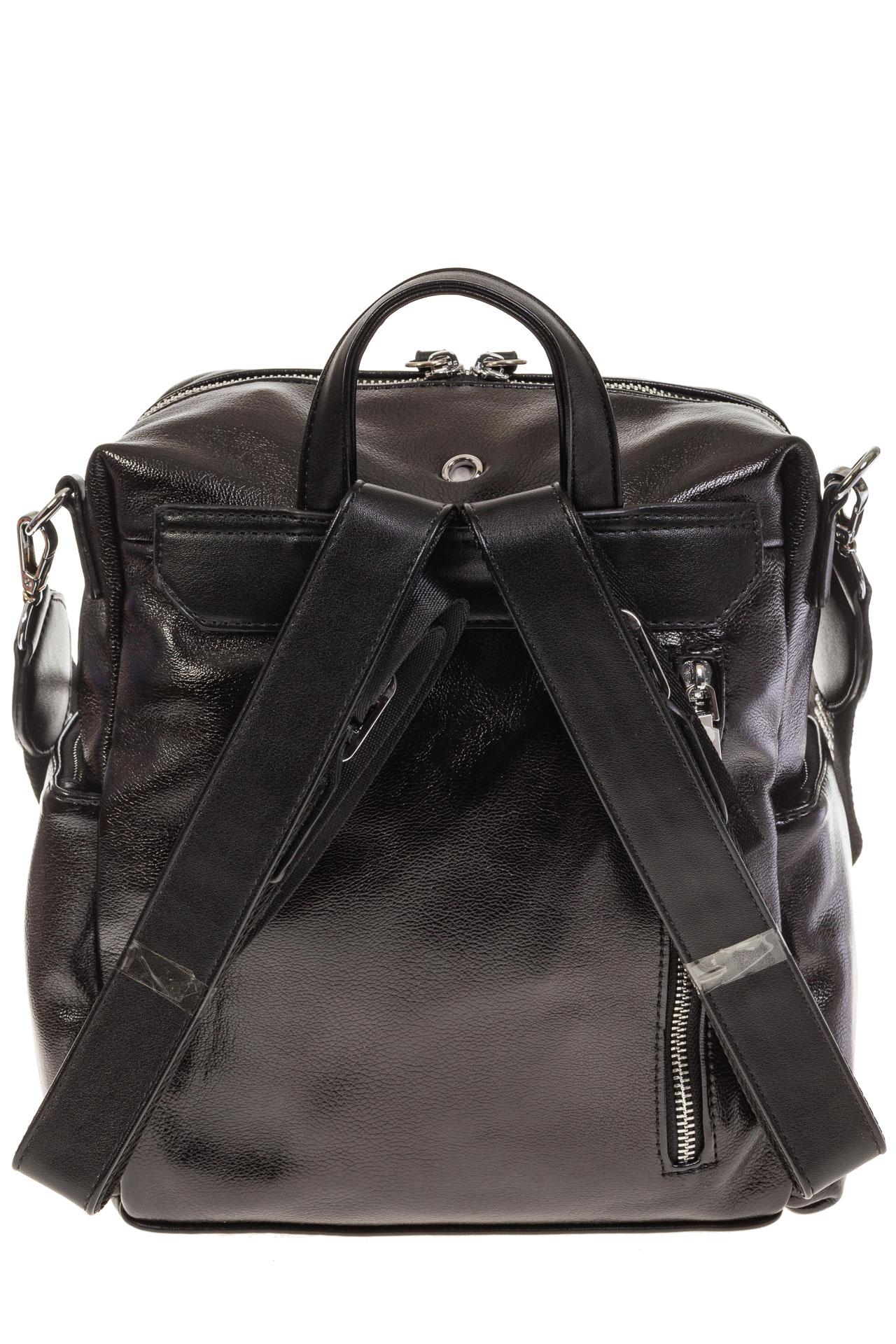 На фото 3 - Рюкзак в стиле рок-н-рол из искусственной кожи, цвет черный