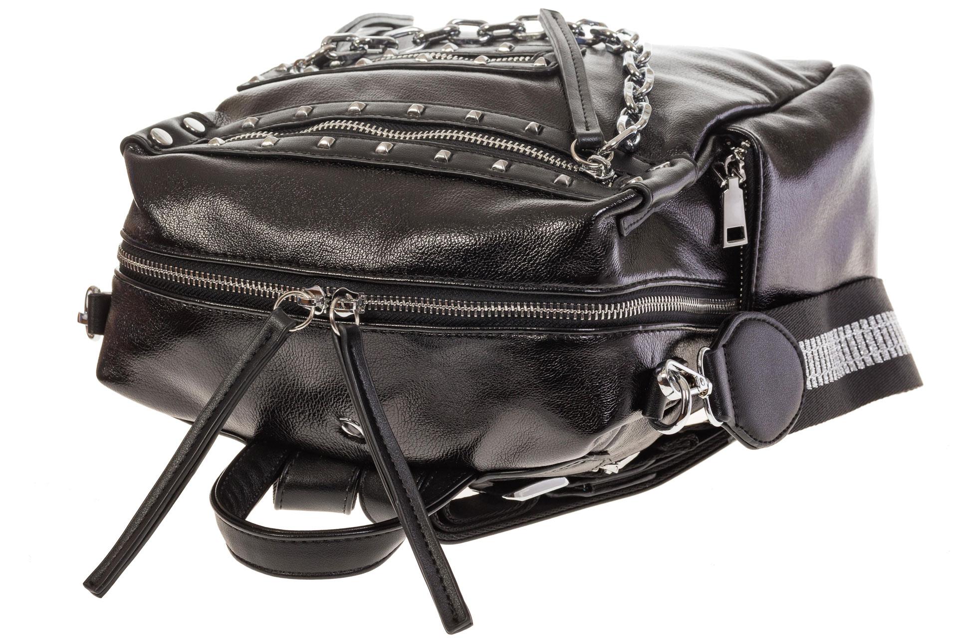На фото 4 - Рюкзак в стиле рок-н-рол из искусственной кожи, цвет черный