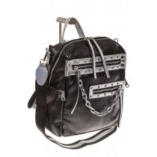 На фото 1 - Рюкзак в стиле рок-н-рол из искусственной кожи, цвет черный с серебром