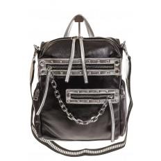 На фото 2 - Рюкзак в стиле рок-н-рол из искусственной кожи, цвет черный с серебром