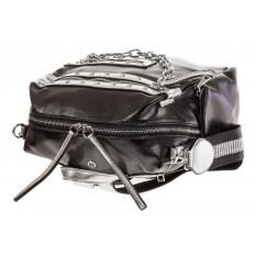 На фото 4 - Рюкзак в стиле рок-н-рол из искусственной кожи, цвет черный с серебром