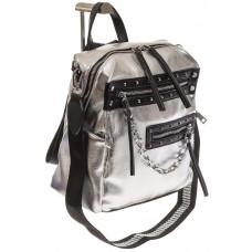 На фото 1 - Рюкзак в стиле рок-н-рол из искусственной кожи, цвет серебро с черным