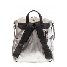На фото 3 - Рюкзак в стиле рок-н-рол из искусственной кожи, цвет серебро с черным