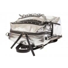 На фото 4 - Рюкзак в стиле рок-н-рол из искусственной кожи, цвет серебро с черным