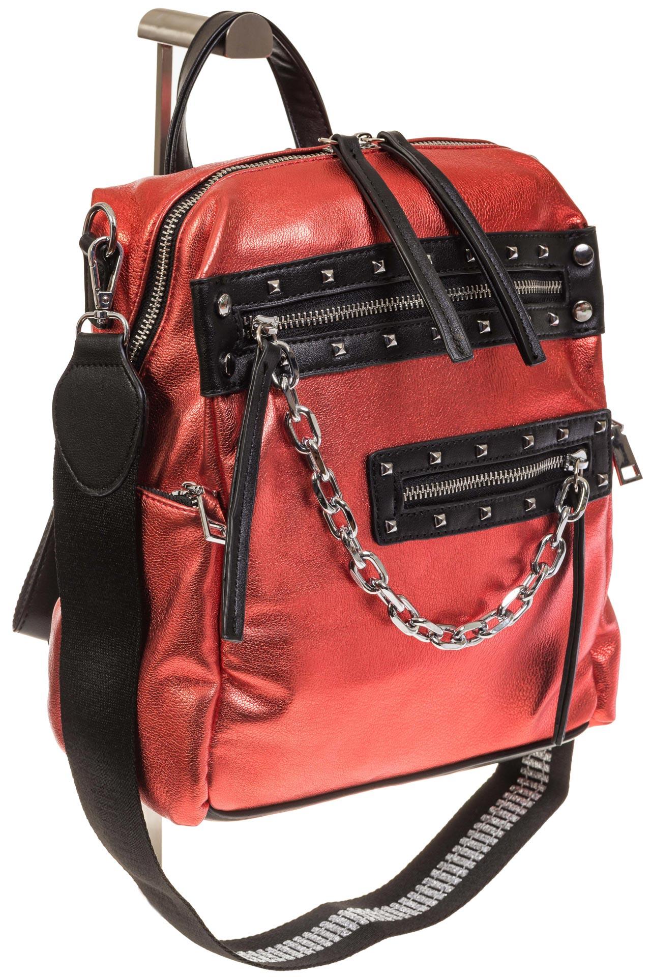 На фото 1 - Красный рюкзак в стиле рок-н-рол из искусственной кожи
