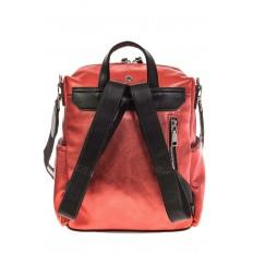 На фото 3 - Красный рюкзак в стиле рок-н-рол из искусственной кожи
