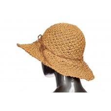 На фото 1 - Летняя коричневая шляпка с ажурным плетением и бантом