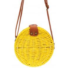 На фото 2 - Круглая сумка-коробочка из ротанга, цвет желтый