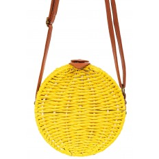 На фото 3 - Круглая сумка-коробочка из ротанга, цвет желтый