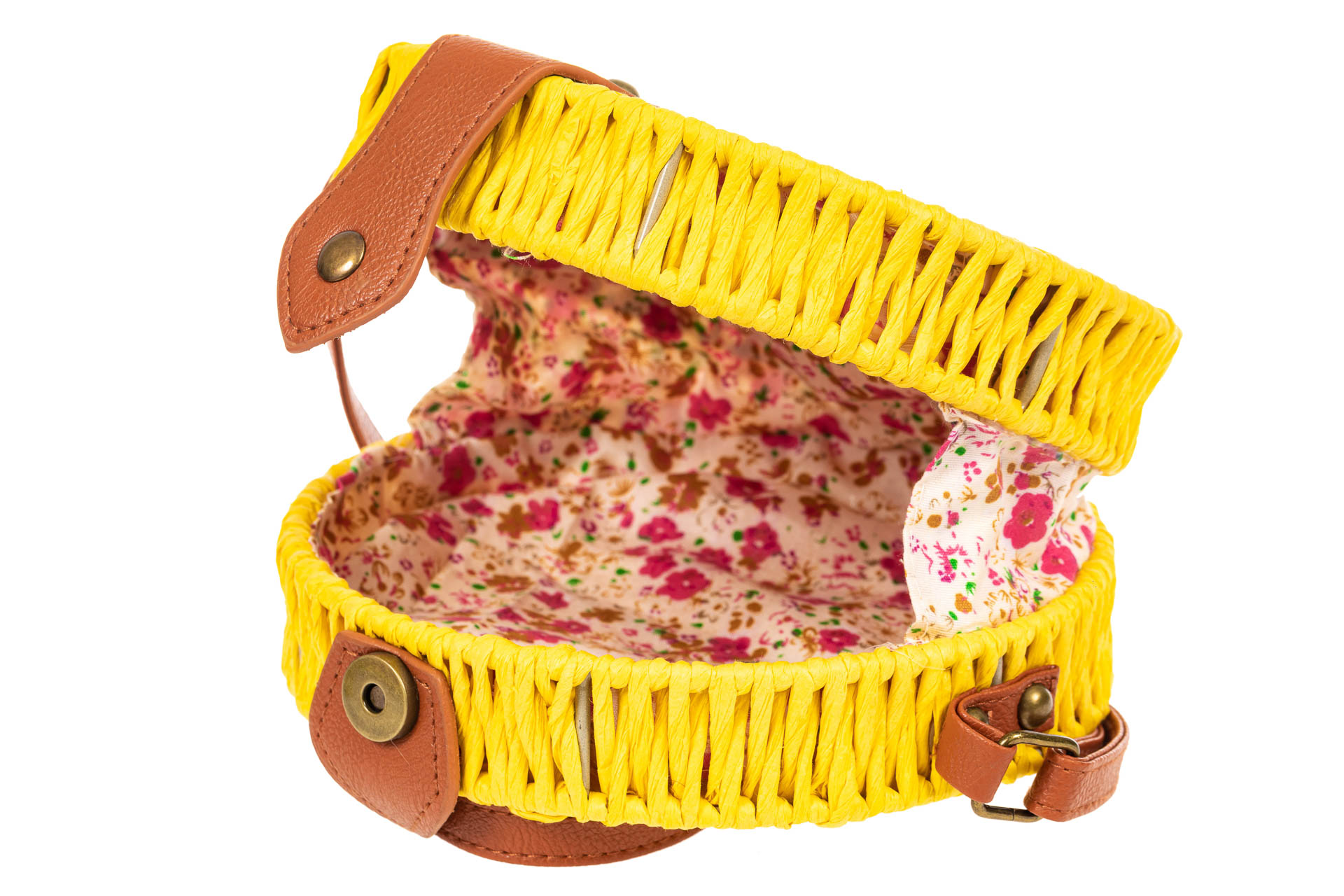 На фото 4 - Круглая сумка-коробочка из ротанга, цвет желтый
