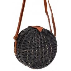 На фото 1 - Круглая сумка-коробочка из ротанга, цвет черный