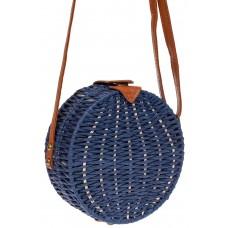 На фото 1 - Круглая сумка-коробочка из ротанга, цвет синий