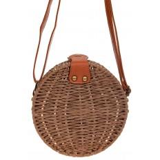На фото 3 - Круглая сумка-коробочка из ротанга, цвет коричневый