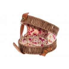 На фото 4 - Круглая сумка-коробочка из ротанга, цвет коричневый