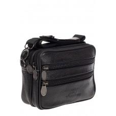 На фото 1 - Поясная мужская сумка из фактурной натуральной кожи, цвет чёрный