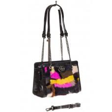 На фото 1 - Женская сумка из меха, яркая розовая кросс-...