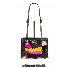На фото 2 - Женская сумка из меха, яркая розовая кросс-боди