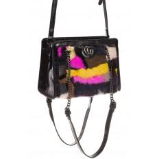 На фото 3 - Женская сумка из меха, яркая розовая кросс-боди