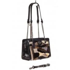 На фото 1 - Женская сумка из меха, коричневая кросс-бод...