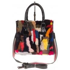 На фото 2 - Женская сумка тоут из натурального меха, красный мультицвет