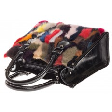На фото 4 - Женская сумка тоут из натурального меха, красный мультицвет