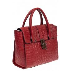 На фото 1 - Женская кожаная сумка с фактурой крокодила и подвеской, цвет красный