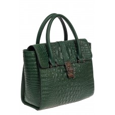 На фото 1 - Женская кожаная сумка с фактурой крокодила и подвеской, цвет зелёный