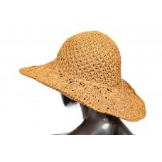 На фото 1 - Летняя шляпка с ажурным плетением коричневого цвета