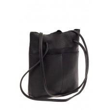 На фото 1 - Сумка женская мешок из натуральной кожи, цвет черный