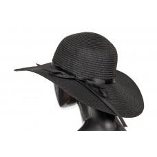 На фото 1 - Соломенная летняя шляпка черного цвета