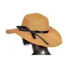 На фото 1 - Соломенная летняя шляпка коричневого цвета