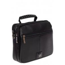 На фото 1 - Мужская сумка-почтальонка из экокожи, цвет чёрный