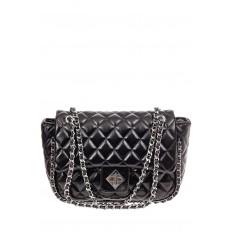 На фото 2 - Стеганая сумка женская из искусственной кожи, цвет черный