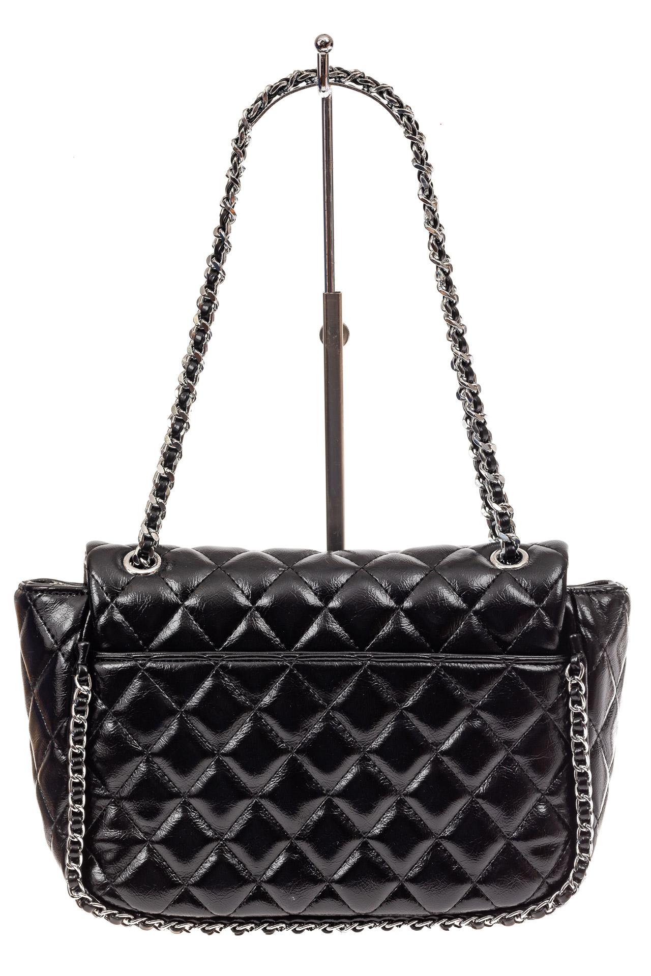 На фото 3 - Стеганая сумка женская из искусственной кожи, цвет черный