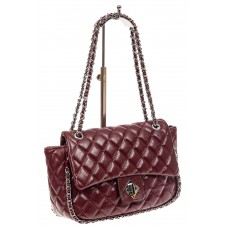 На фото 1 - Стеганая сумка женская из искусственной кожи, цвет бордо